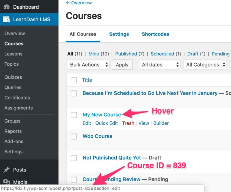How to find LearnDash course ID