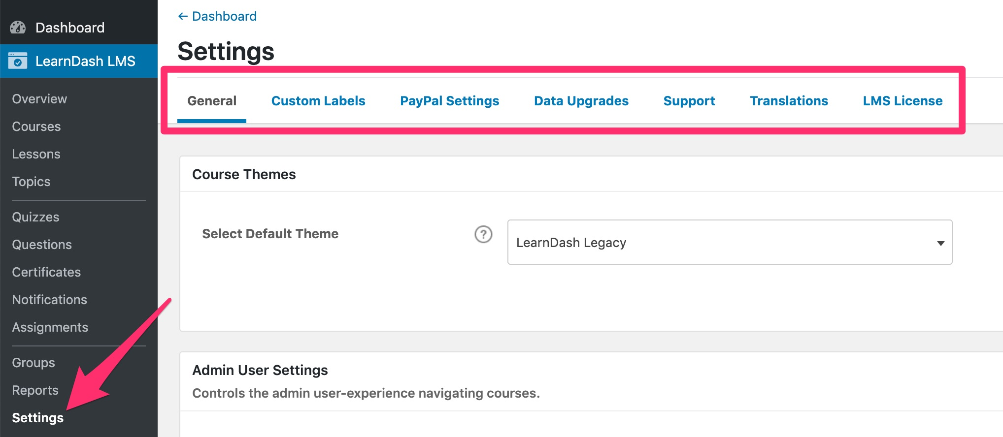 LearnDash settings navigation menu