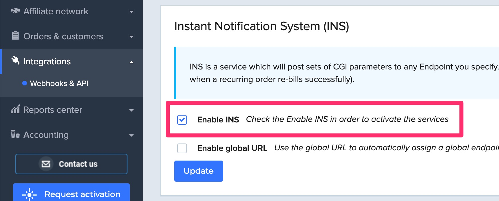 Enable INS in 2Checkout