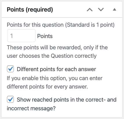 Different points for each answer