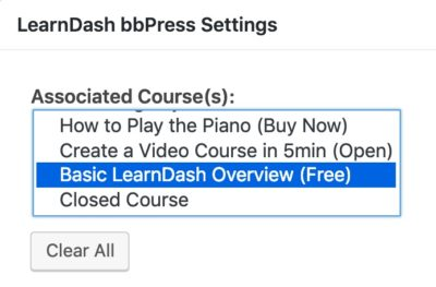 bbPress Learndash, associate a course