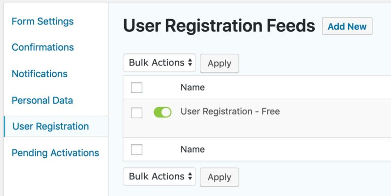 Gravity Forms user registration feed page