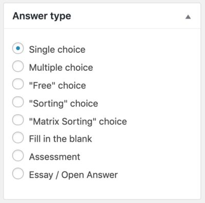 Choose LearnDash question type