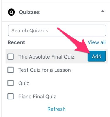 Add single quiz in LearnDash course builder