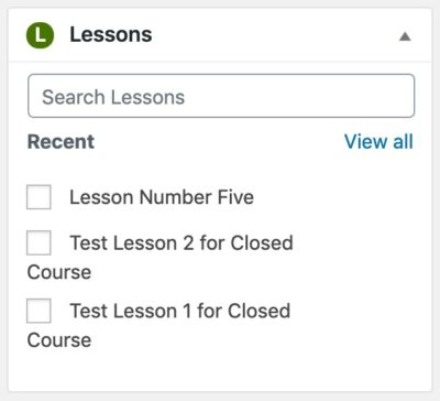 Course Builder, lesson metabox