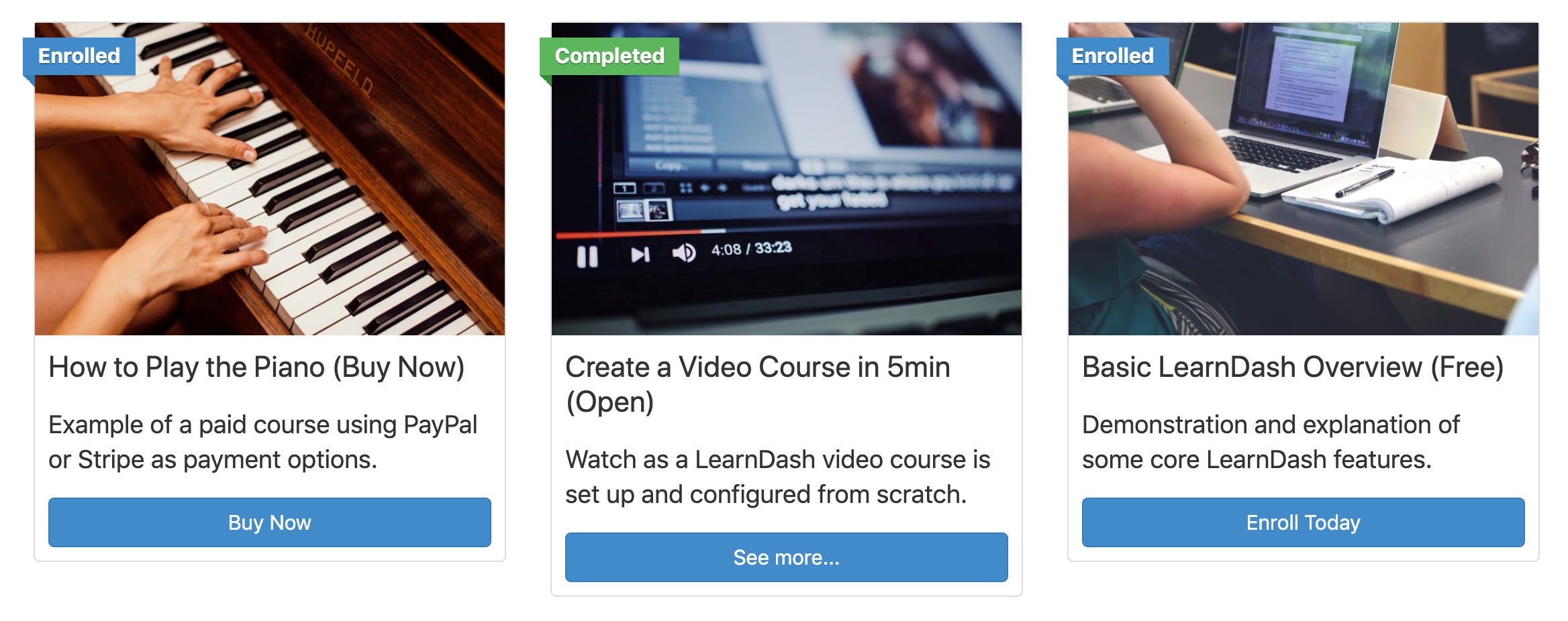 LearnDash course grid with default options