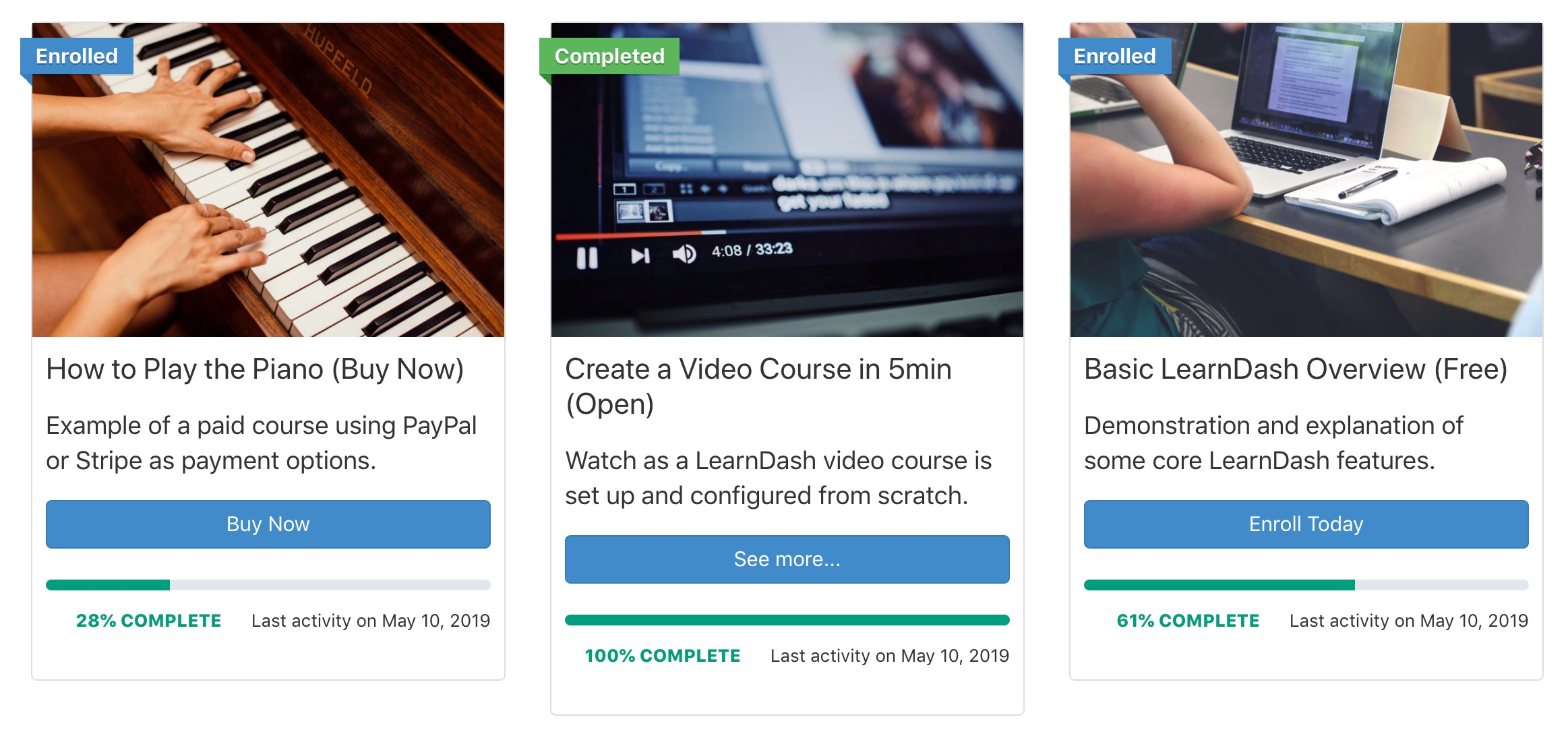 LearnDash course grid with the 3.0 theme applied