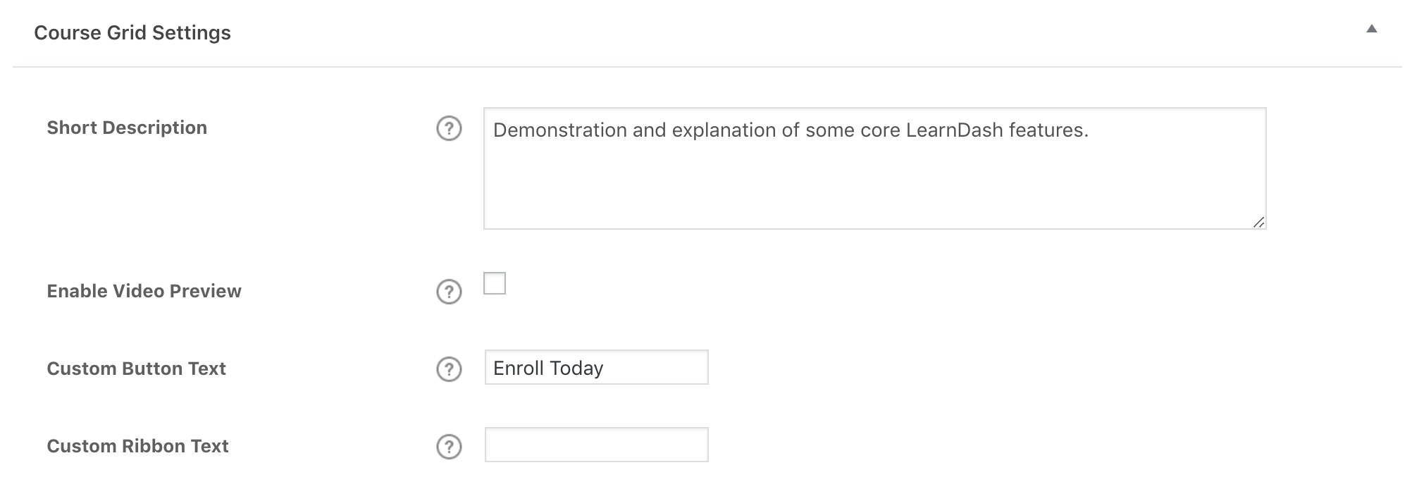 LearnDash course grid admin settings