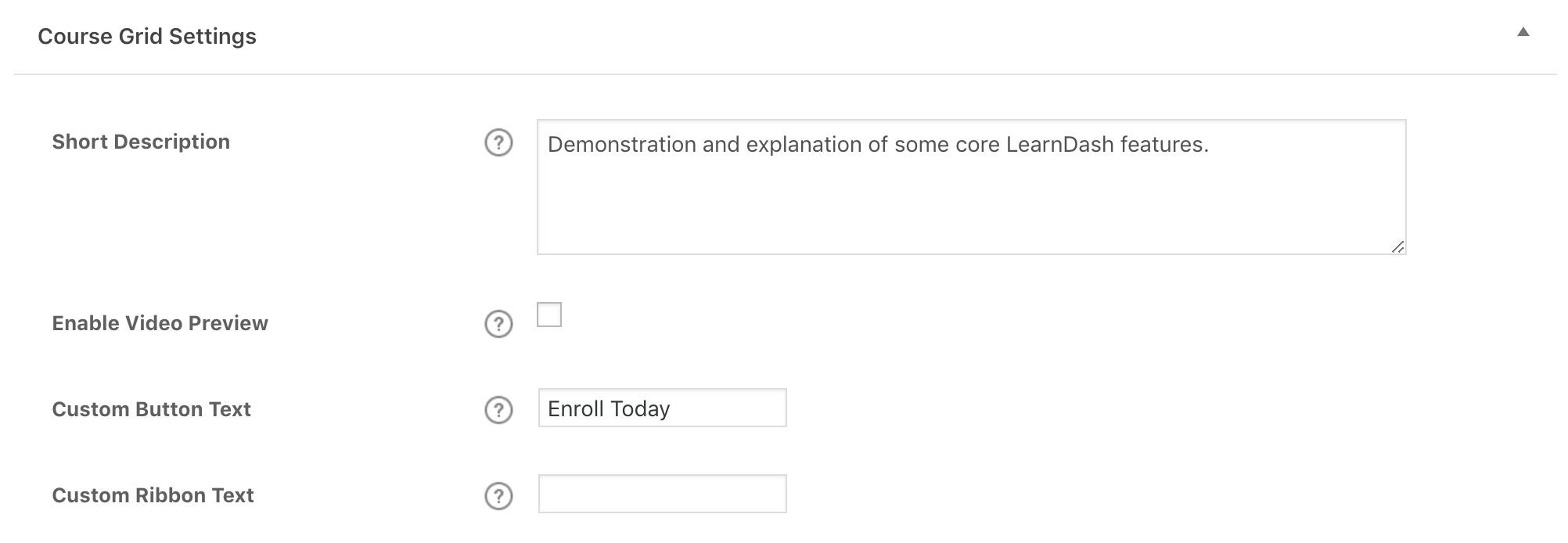 LearnDash course grid admin settings