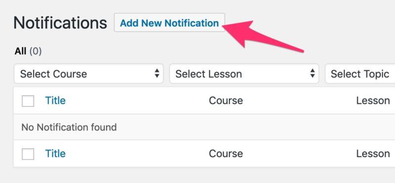 LearnDash add new notification button