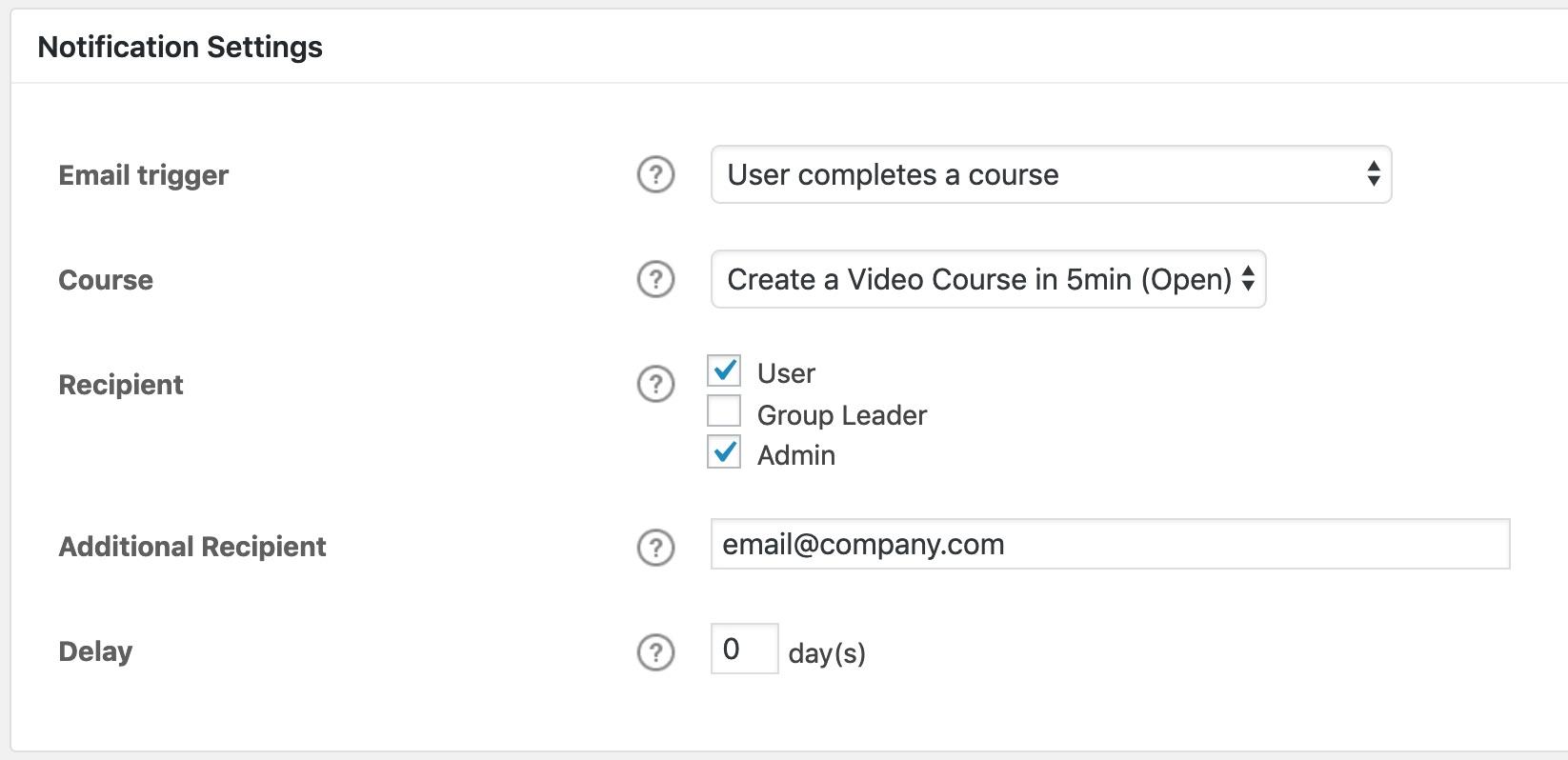 LearnDash notifications, settings screen