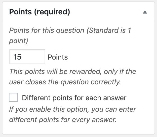 Choose points to be awarded for a question
