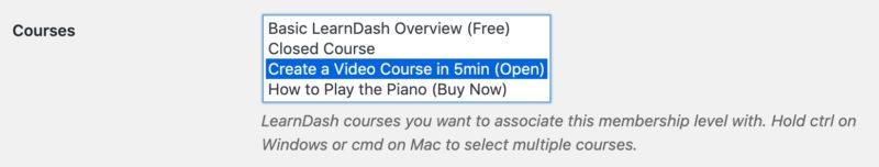 Restrict Content Pro, associate a course