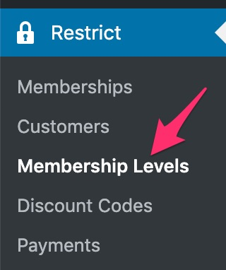 Restrict Content Pro membership level navigation