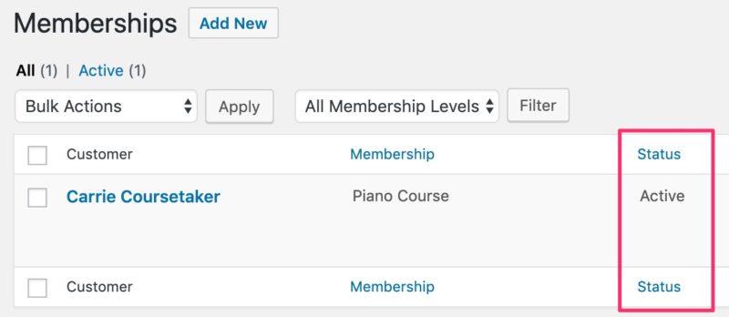 Restrict Content Pro, membership status column