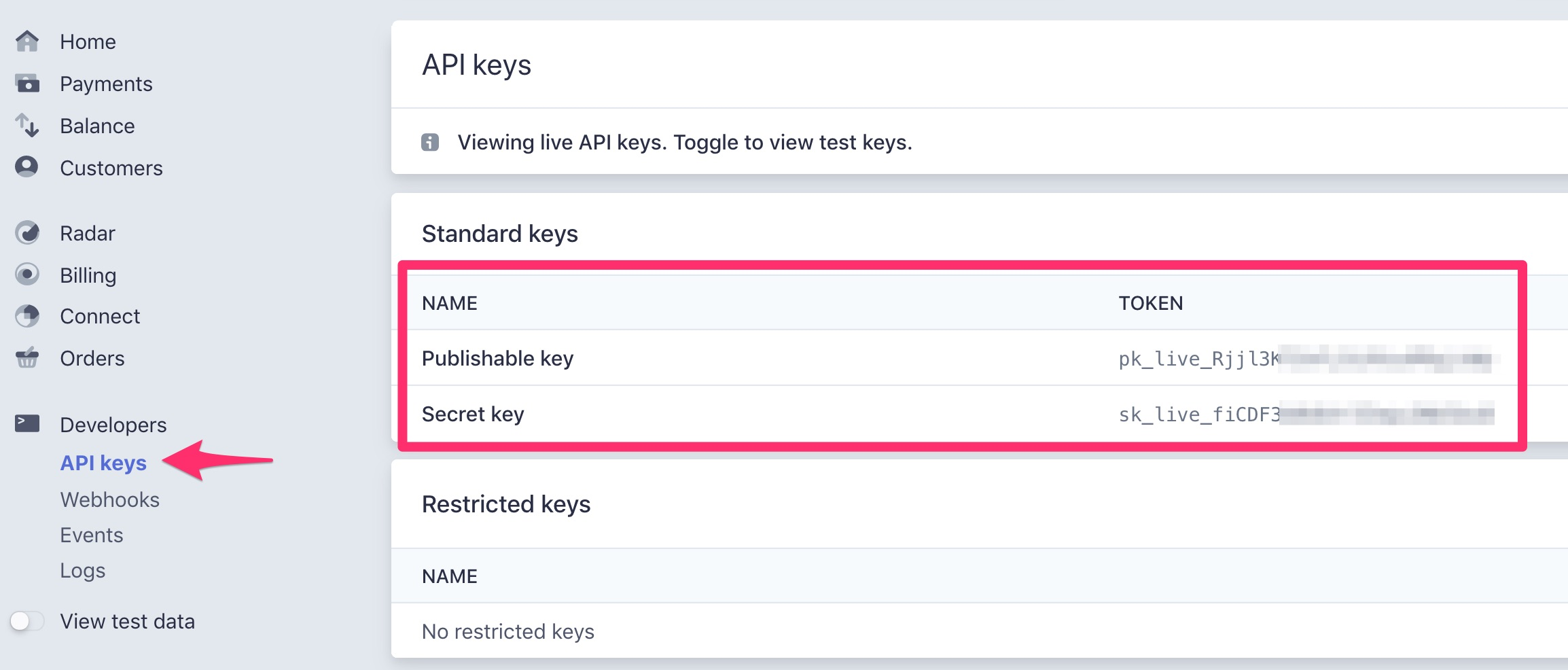 Find Stripe API keys, Live Mode