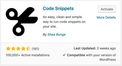 Code Snippets plugin card
