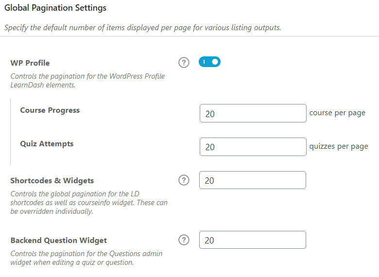 Global Pagination Settings - LearnDash Backend2