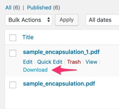 """Download Assignment"" link in the WordPress admin"