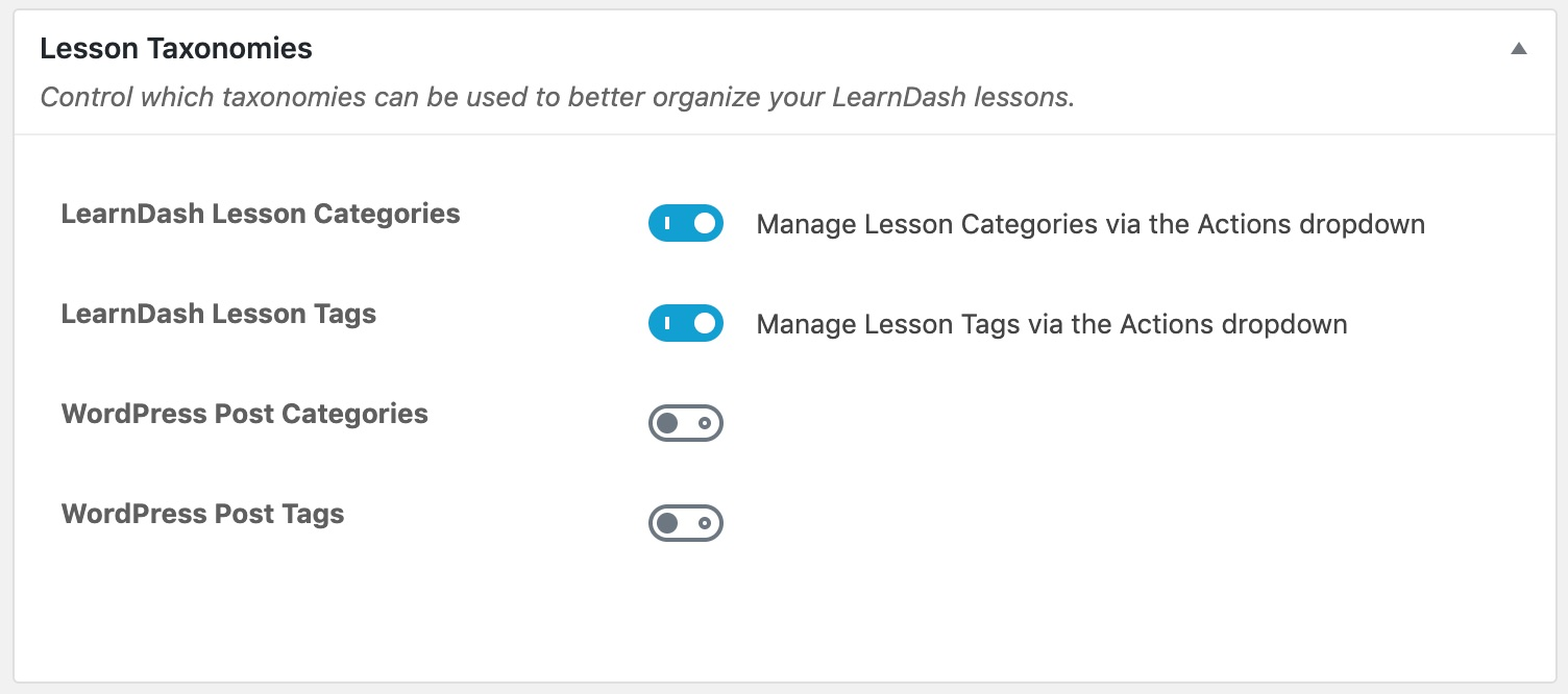 LearnDash lesson taxonomy settings