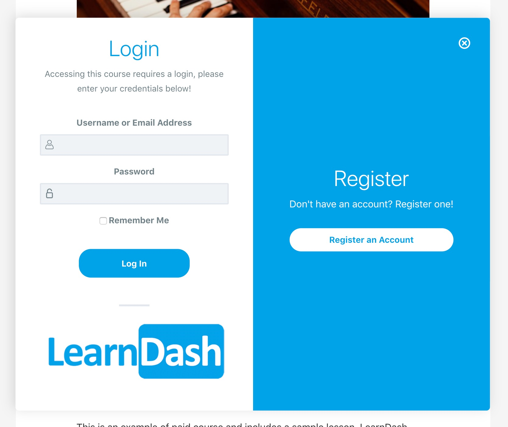 LearnDash Login & Registration, desktop example