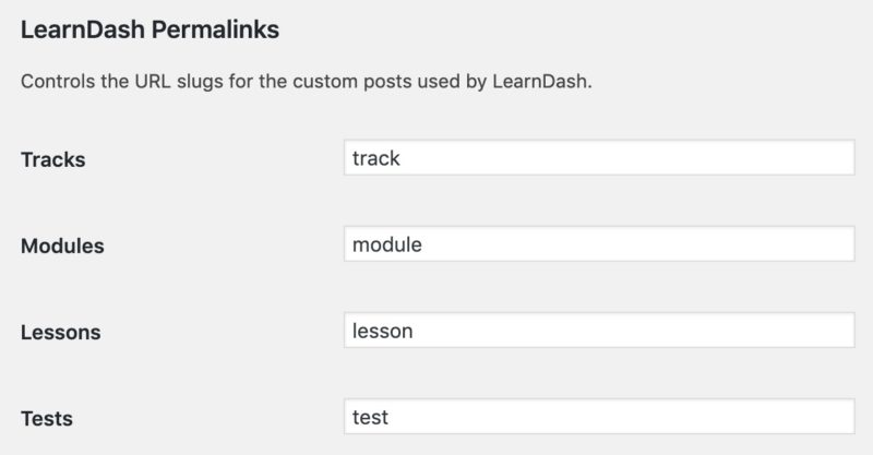 LearnDash custom permalink settings