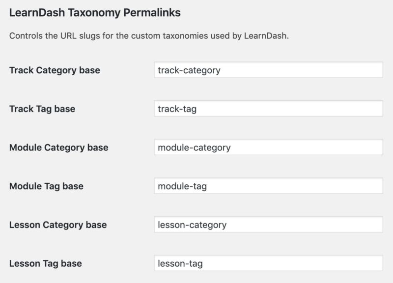 LearnDash taxonomy permalink settings