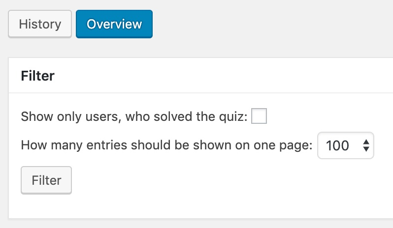 LearnDash quiz stats, history, overview & filter options