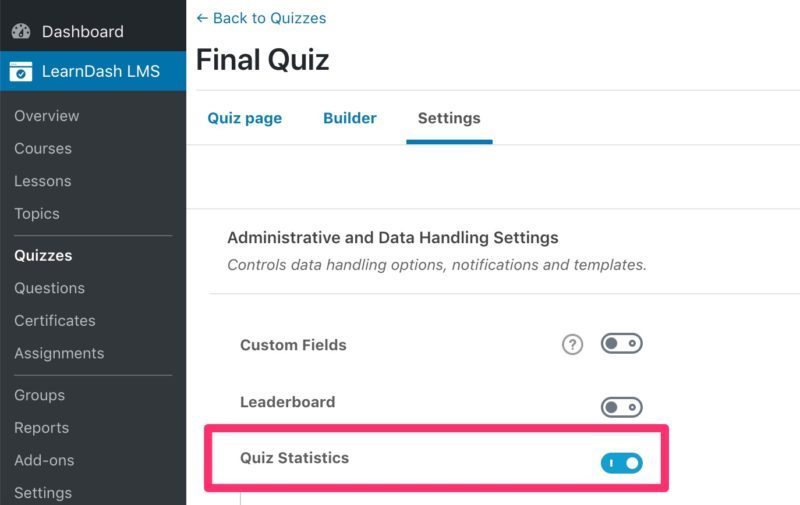 LearnDash actions menu, quiz statistics