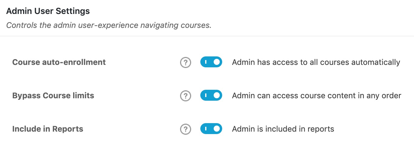 LearnDash Admin User Settings