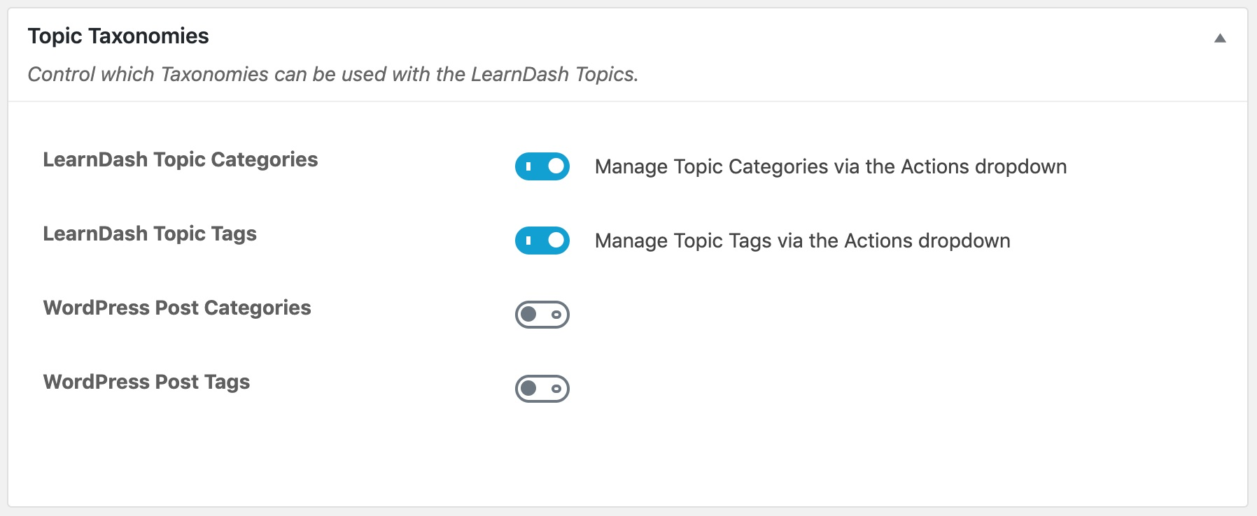 LearnDash topic taxonomy settings