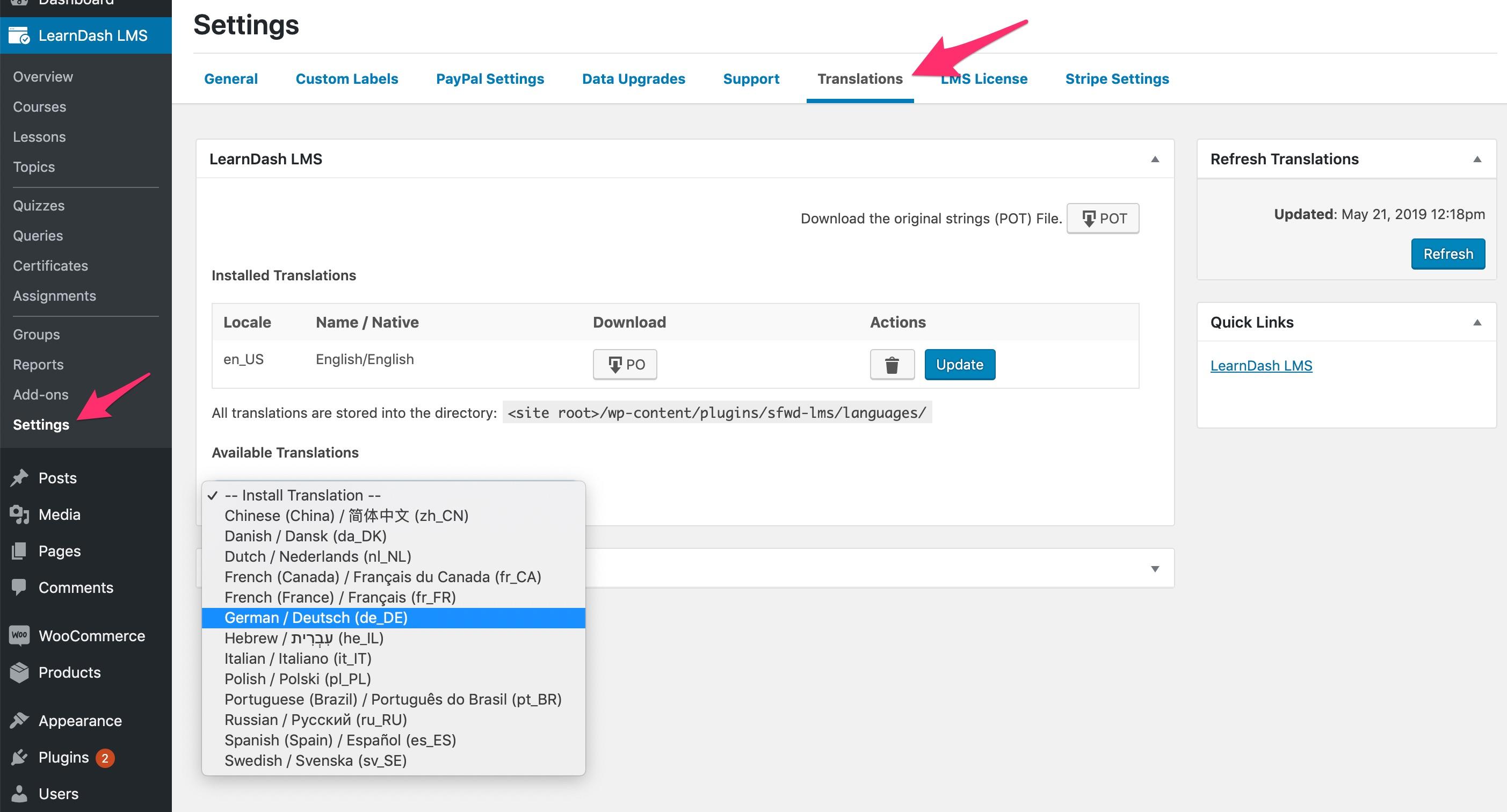 LearnDash admin translation settings