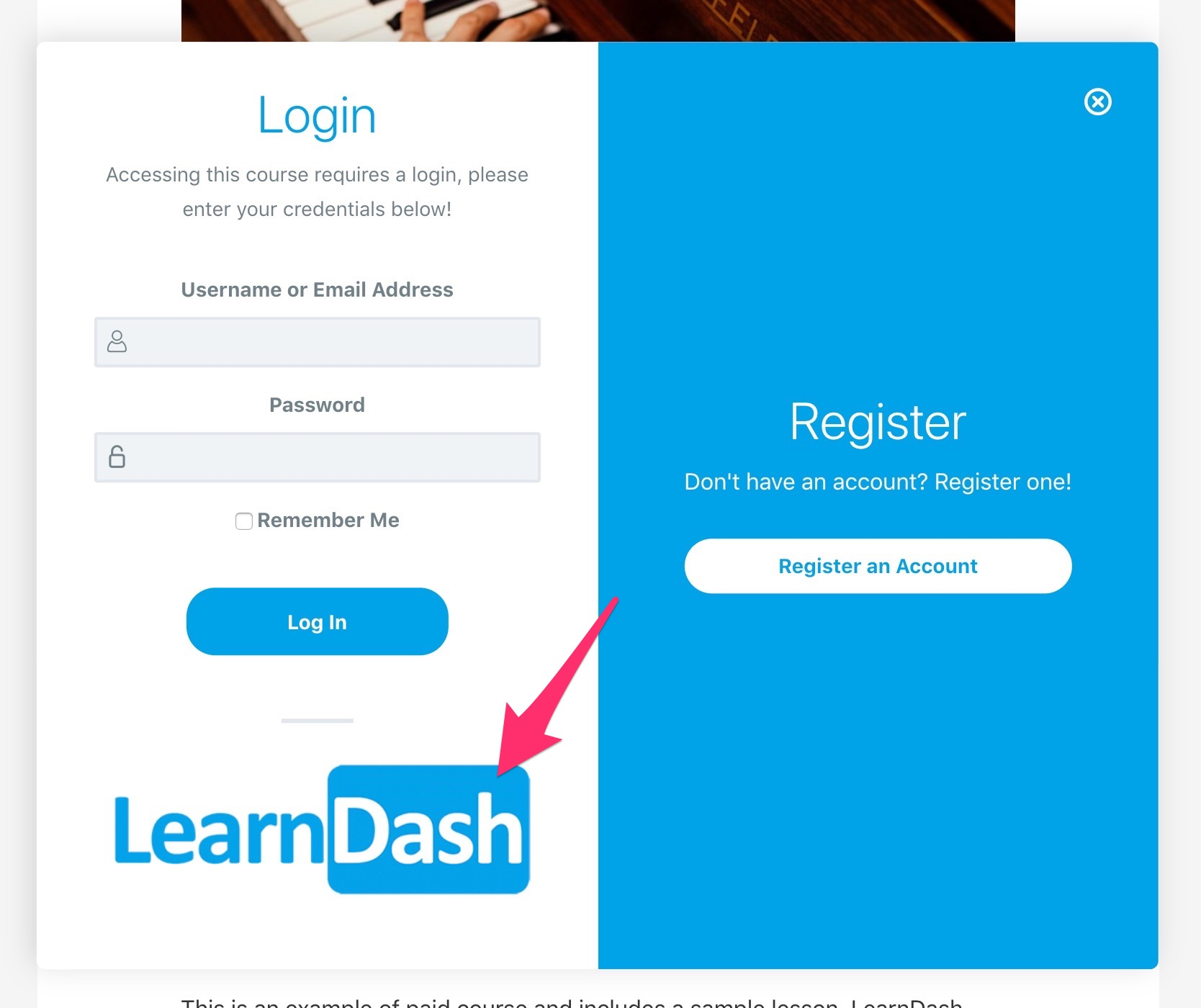 Upload logo used in login/registration modal