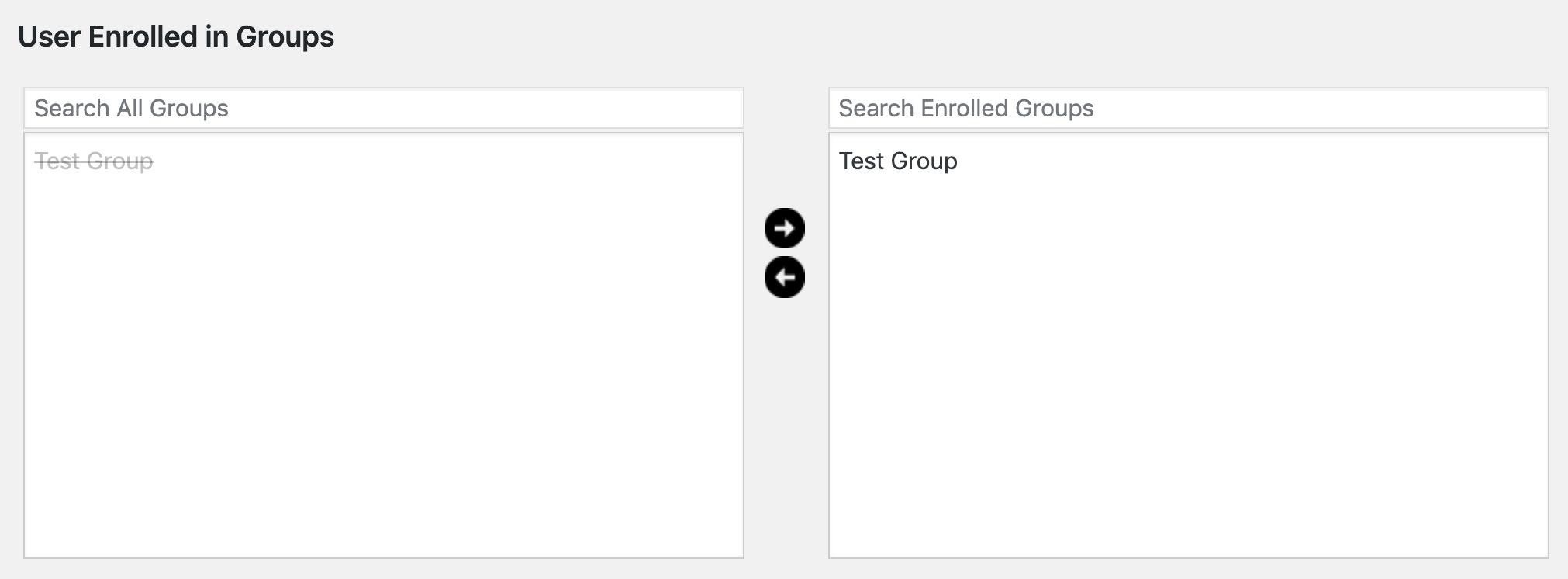 LearnDash user enrolled in groups, management