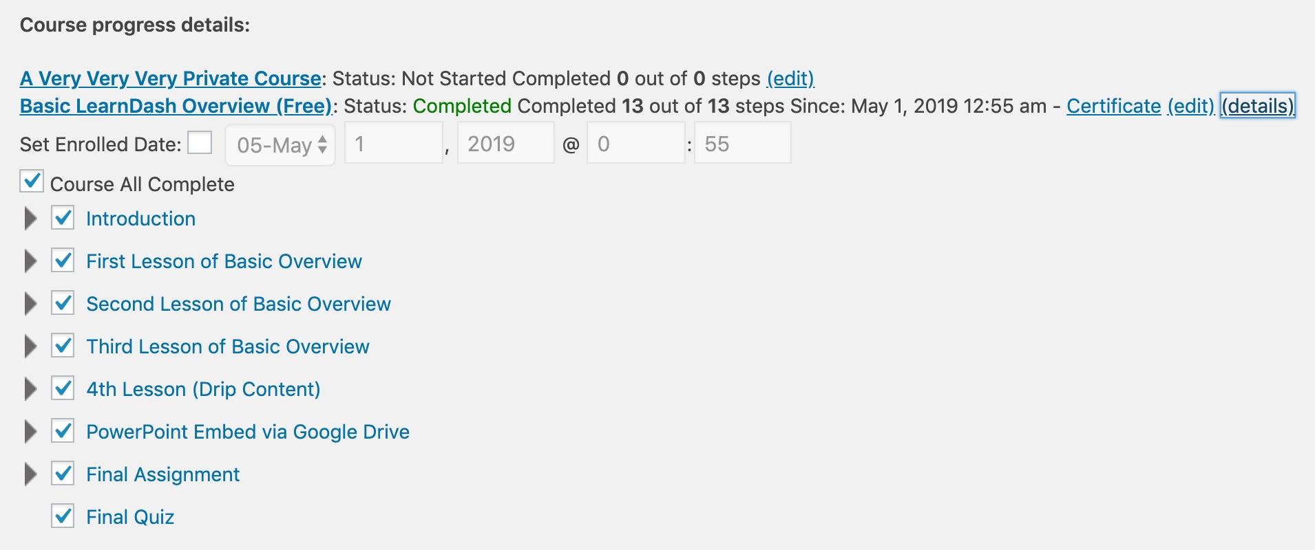 LearnDash course progress details, in admin