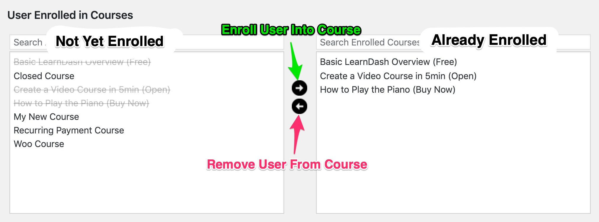 LearnDash user enrolled in courses, management