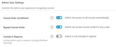 Admin user settings on LearnDash back end