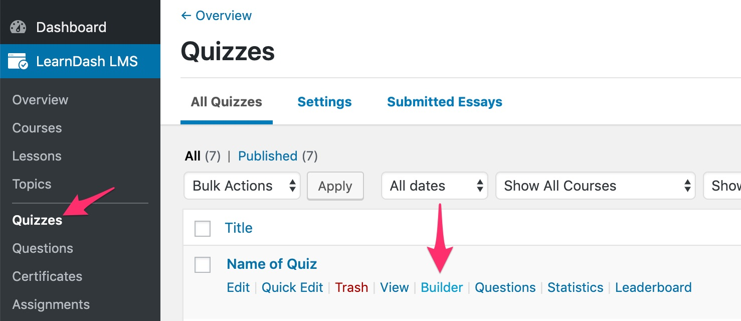 How to access LearnDash quiz builder from list page