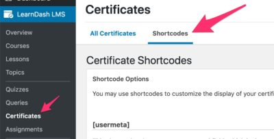 LearnDash certificate shortcodes in admin