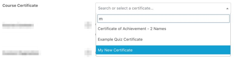 Choosing LearnDash certificate from dropdown