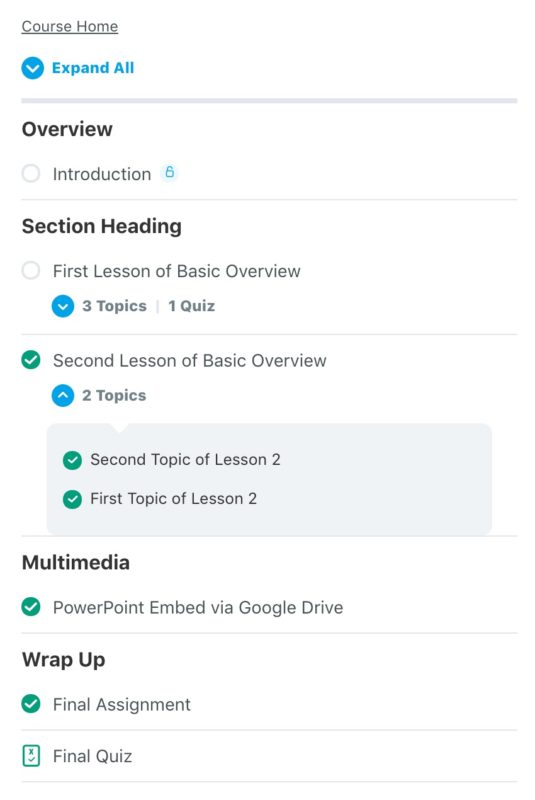 LearnDash course navigation widget