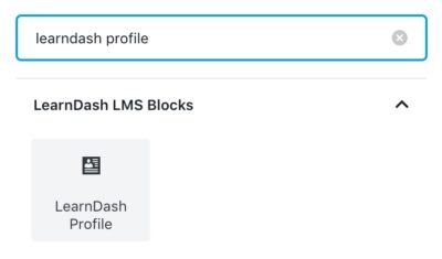 Insert the LearnDash profile block in admin
