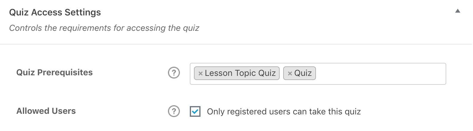 LearnDash quiz access settings in admin