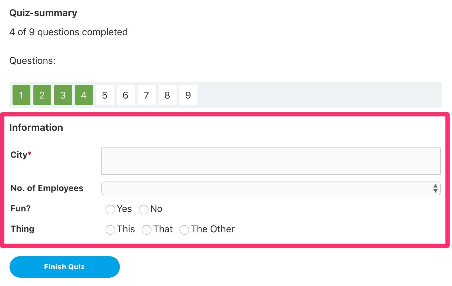 LearnDash quiz custom fields at end of quiz