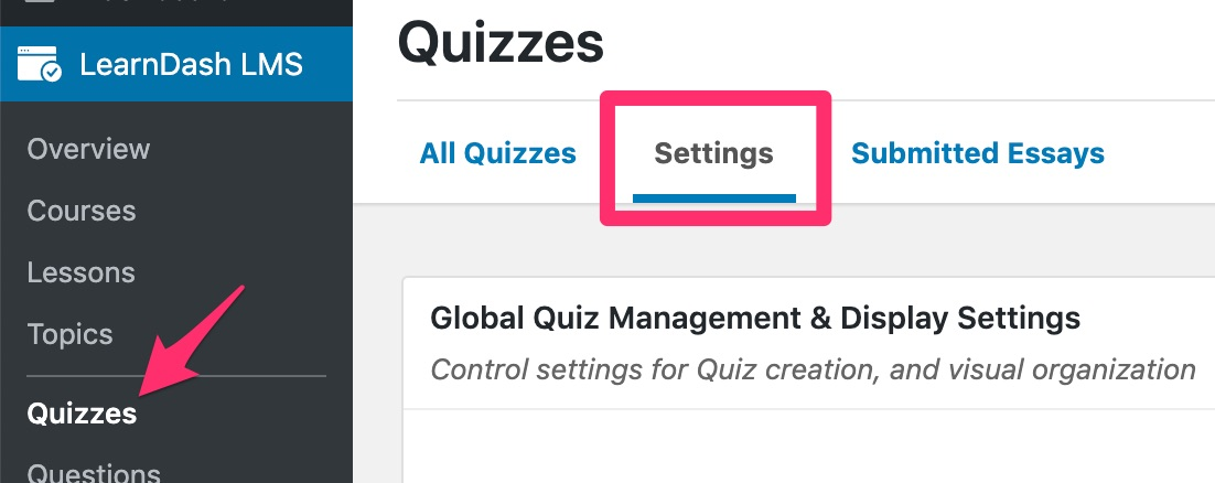 LearnDash global quiz settings tab