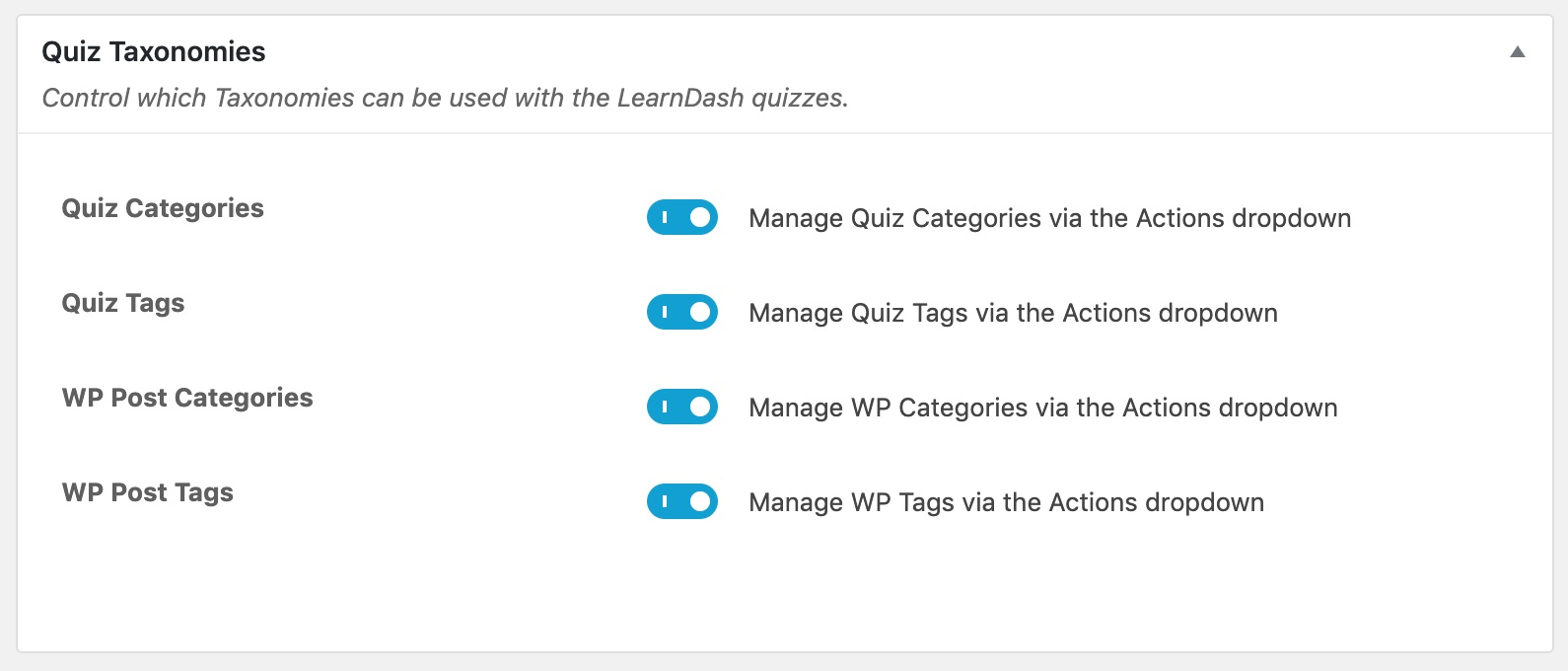 LearnDash quiz taxonomy global settings