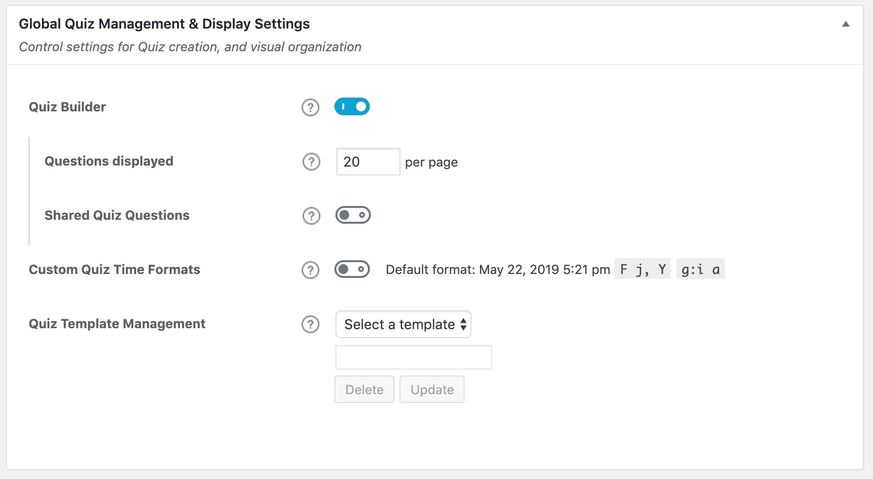 LearnDash quiz management & display settings