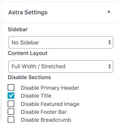 Astra page settings