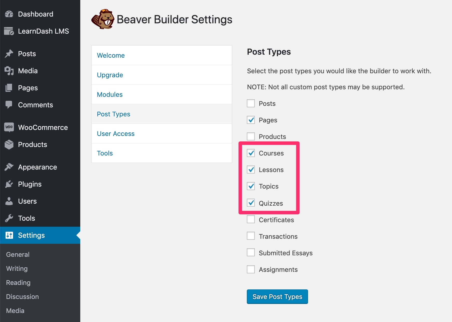 Enable LearnDash post types in Beaver Builder