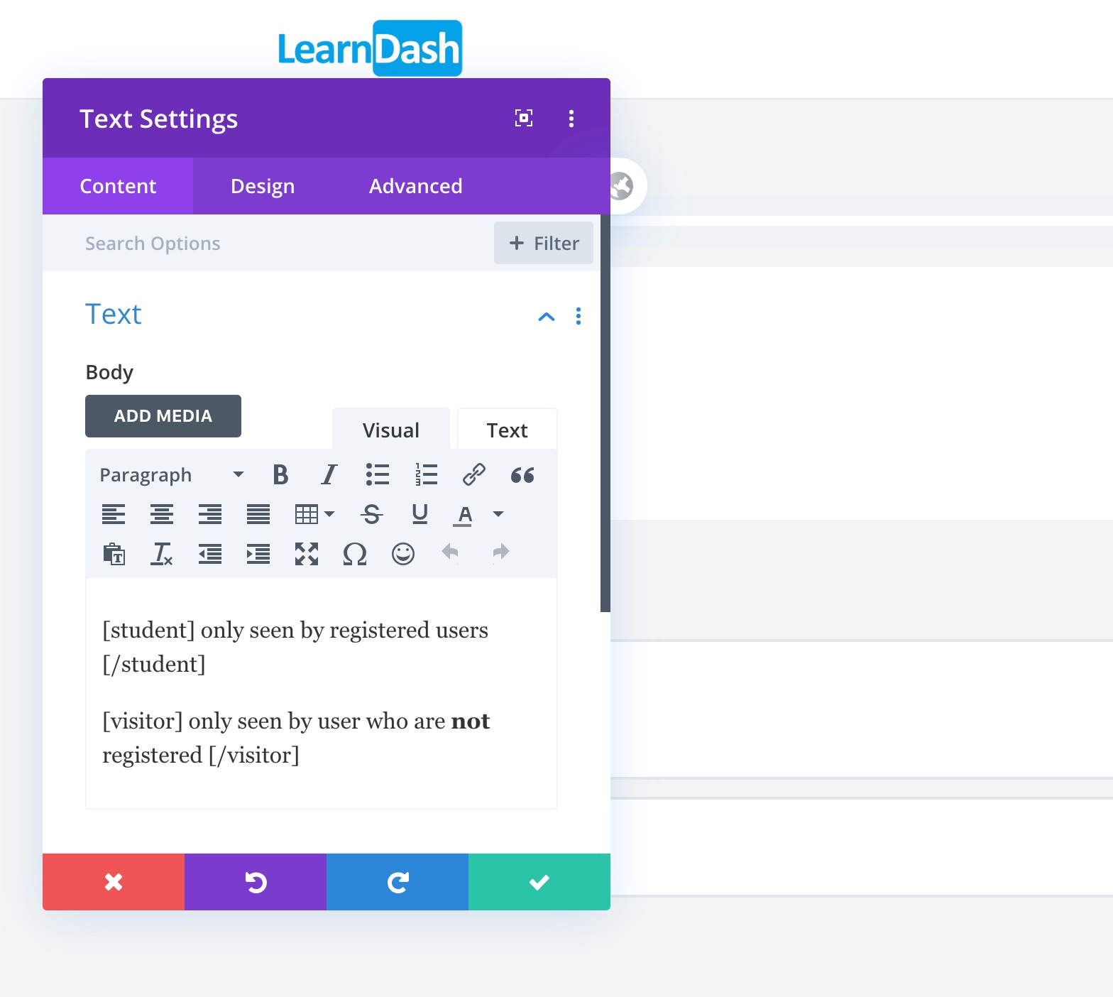 Example student/visitor shortcode in Divi